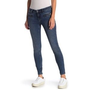Free People Jet Low Rise Moto Jeans Zippered Cuffs